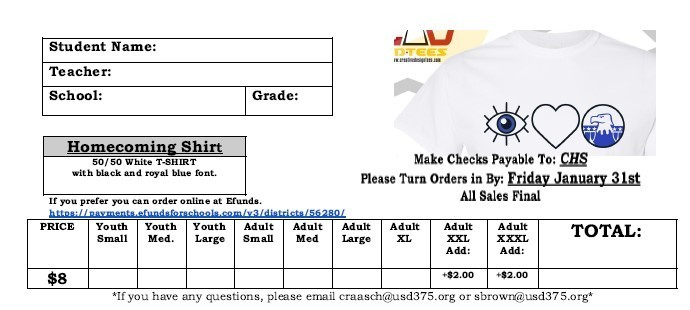Homecoming t-shirt order form  #thrivein375