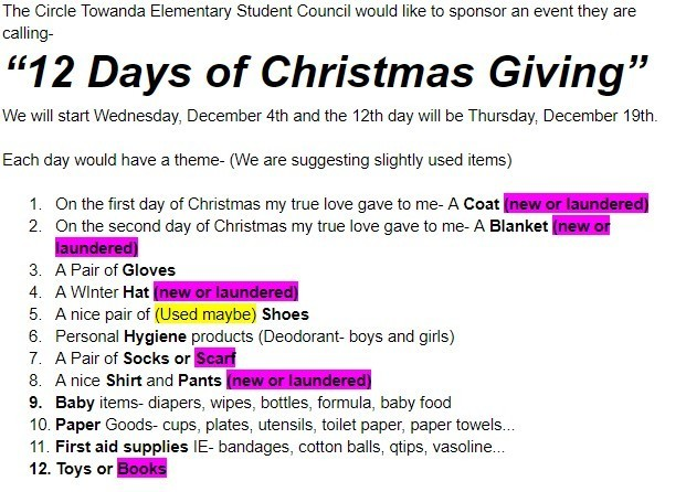 12 Days of Christmas Giving!