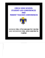 Student Led Conferences/Parent Teacher Conferences on Feb.17th and Feb.19th