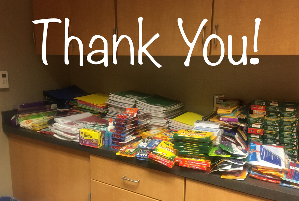 Thank you for the donated school supplies!