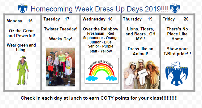 Homecoming Week Dress Up Days 2019!